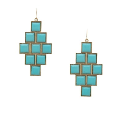 Architectural geo jewel earrings -  light blue