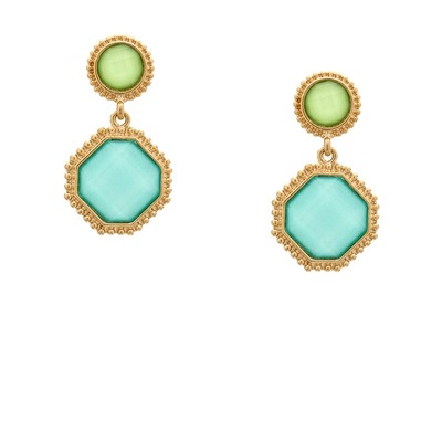 Sparkled jewel drop earrings - green and blue