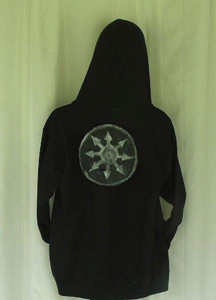 Hand Painted Black Hoodie With Chaos Magick Symbol Ruemerriweather