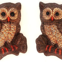 Owl Plaques, Playful Vintage Kawaii Owl Wall Hangings