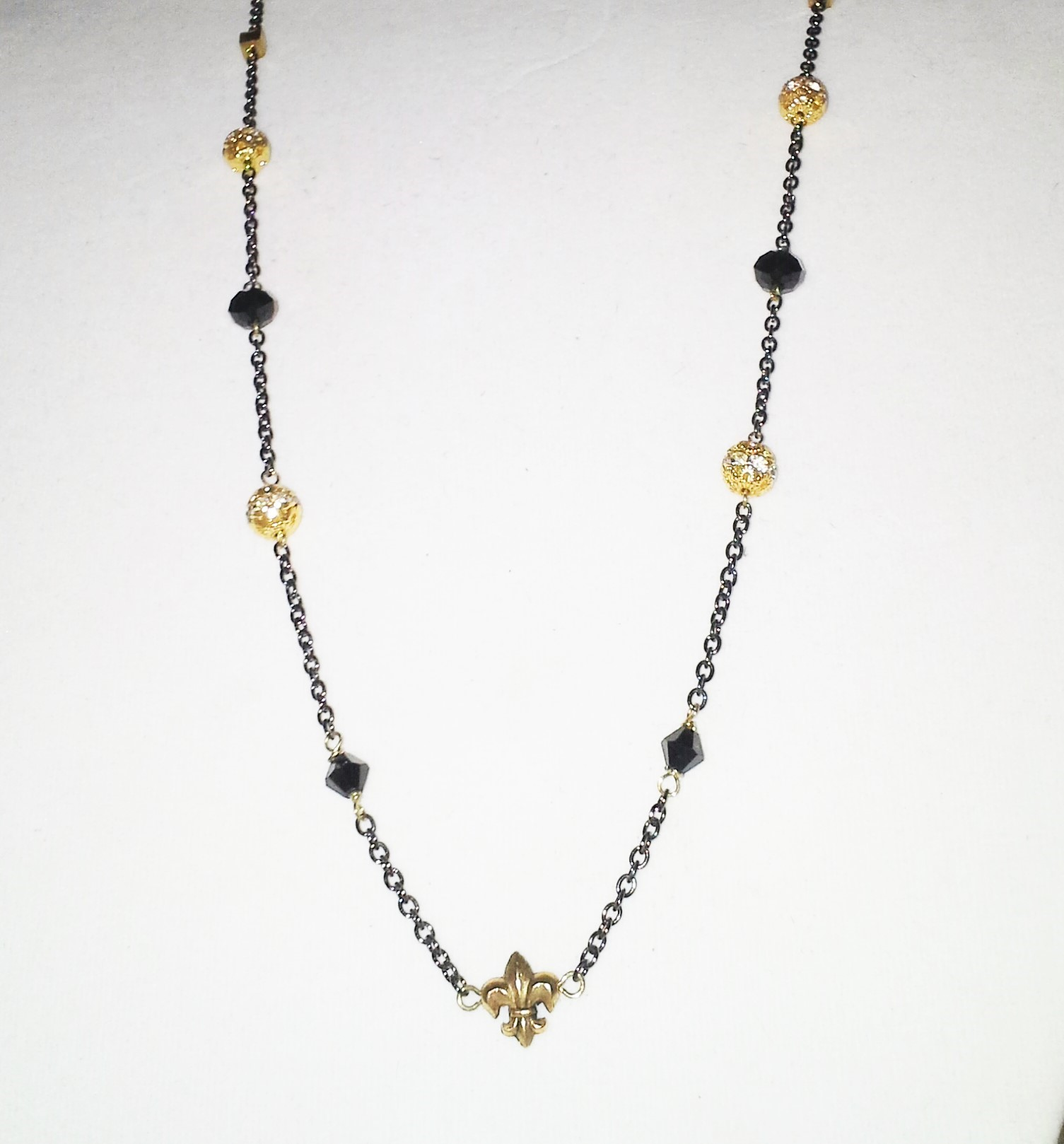 Long fleur de lis necklace amelia 39 s southern expressions for Jewelry stores in slidell louisiana