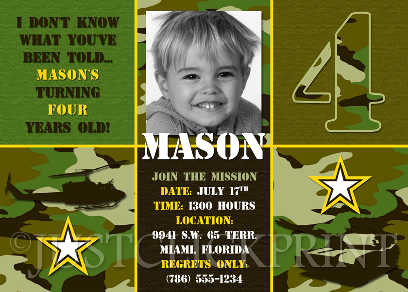 Camouflage Army Military Birthday Invitation Printable Just Click