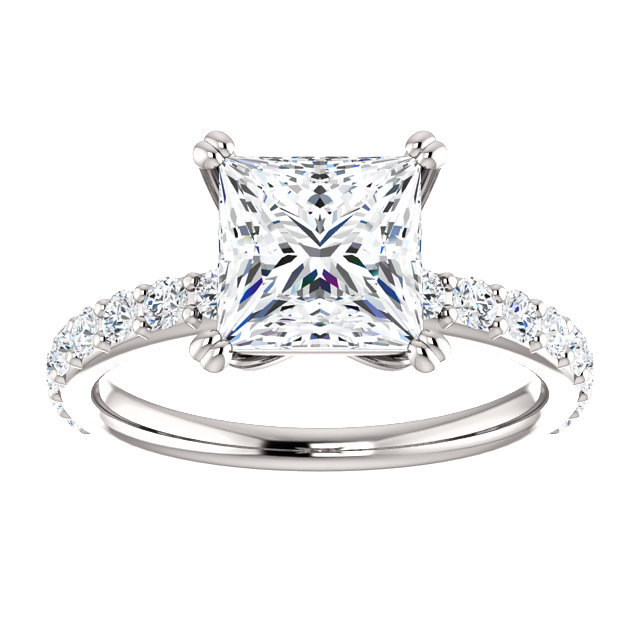 Moissanite 2CT Center Princess Cut & Diamond Prong Set Sides Engagement W