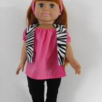 Hot Pink shirt, zebra vest,black leggings, headband 4 pc
