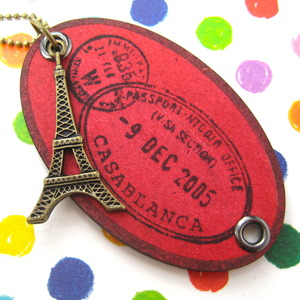 Ink on Wood Eiffel Tower France Travel Souvenir Tag Necklace in Red