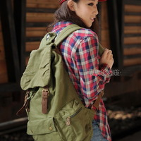 Military green canvas scout field backpack unisex - Thumbnail 2