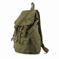 Military green canvas scout field backpack unisex - Thumbnail 3