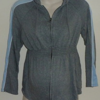 Gray Hooded Zip Jacket-Liz Lange Maternity Size Large