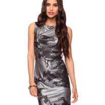 In S, M, & L - silver black gray metallic galaxy mini dress sleeveless pencil stretchy