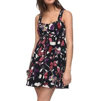 L forever 21 black pink purple butterfly cross strap empire waist sun mini dress