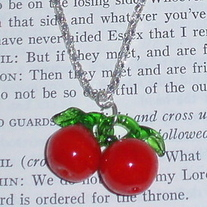 Lampwork Glass Red Cherry Rockabilly Necklace Fruit Silver Jewelry Pendant