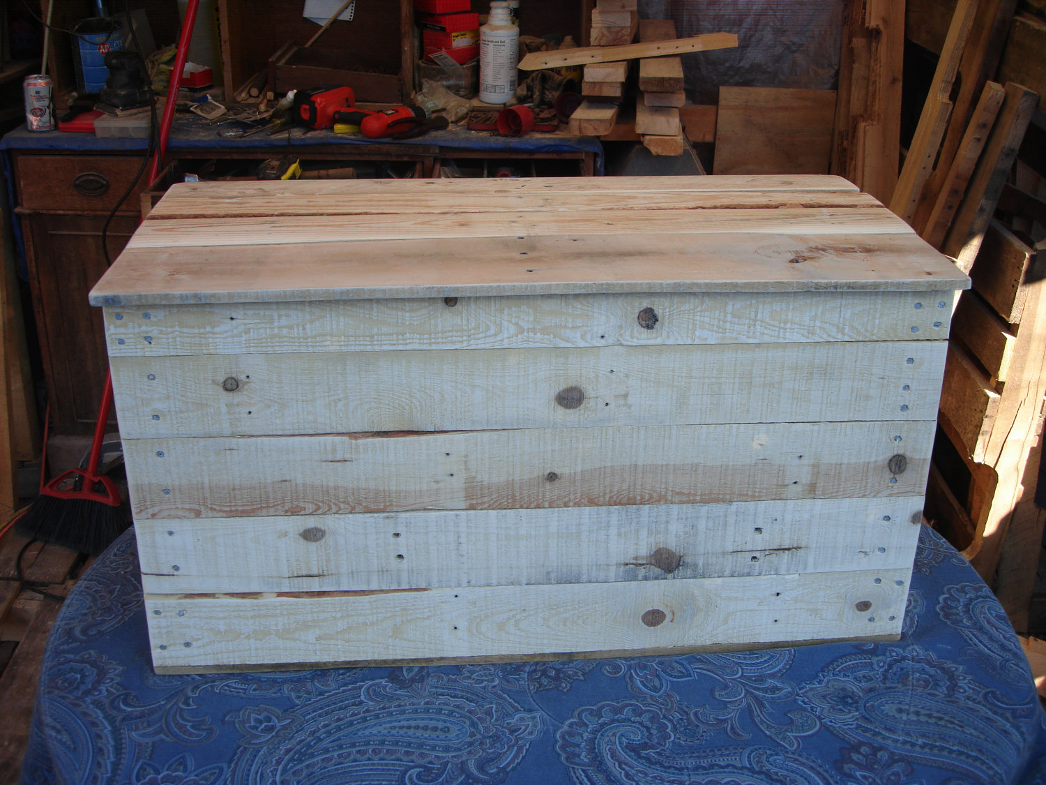 ... Primitive wood box Storage Chest TrunkToy Box style 91 - Thumbnail 3 & Primitive wood box Storage Chest TrunkToy Box style 91 ...