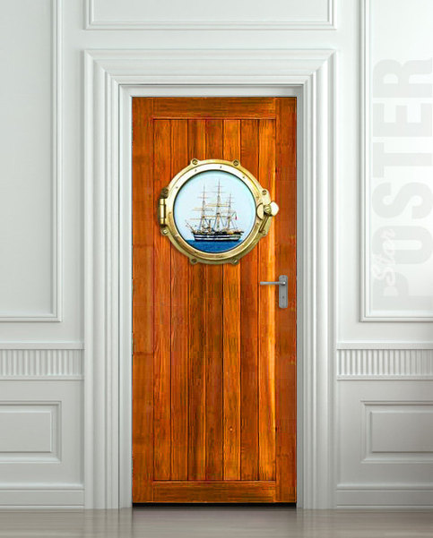 Door sticker illuminator porthole window sidelight sea for Mural film