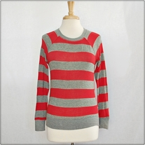 Red and Grey Striped Sweater