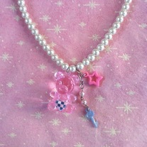pink purple teddy bear checkerboard heart key necklace with white glass pearls and silver chain