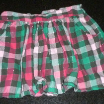 Pink/Green Plaid Skirt-Justice Size 12