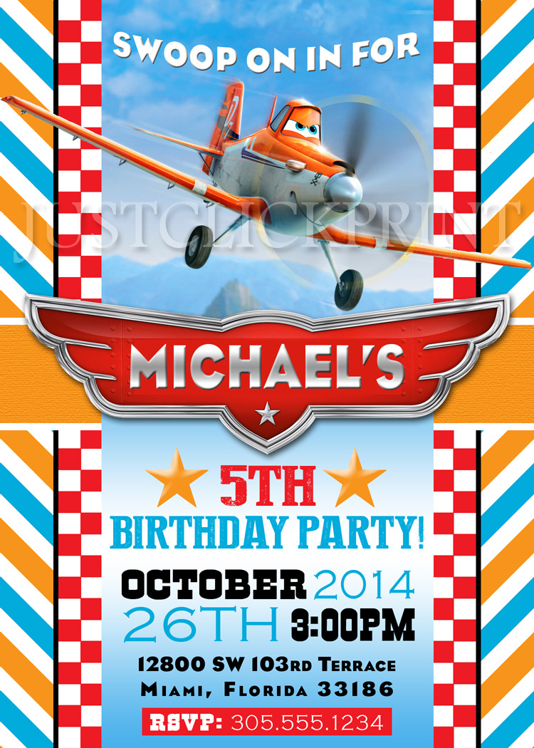 Planes Dusty Airplane Birthday Party Invitation Printable · Just ...