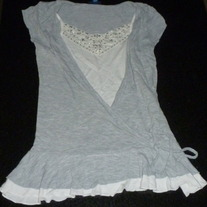 Gray Shirt with Built in Cami With Sequins-Limited Too Size 12