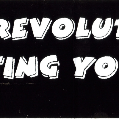 """start a revolution, stop hating your body"" sticker"
