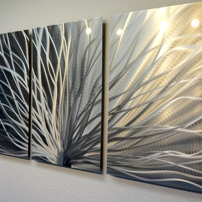 Wall Panel Art radiance - 3 panel metal wall art abstract contemporary modern