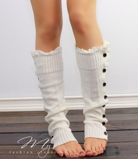 lace boot socks knitted leg warmers ivory boot socks