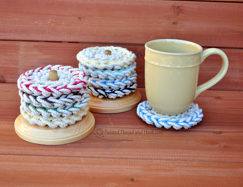 4 Color Rope Coasters with Wood Stand - Natural Coasters - Nautical Coasters - Beach Decor