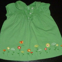 Green/White Polka Dot Short Sleeve Dress with Flowers-Carters Size 18 Months