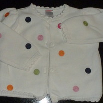 White Sweater with Multi Color Polka Dots-Gymboree Size 12-16 Months