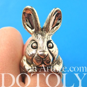 3D Adjustable Bunny Rabbit Animal Ring in Shiny Gold with Fur Detail