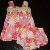 Pink/Orange Floral Dress with Matching Bloomers-Rare Editions Size 3-6 Months  CLM1