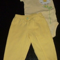 Yellow Short Sleeve Onesie with Flower says Little Lady and Matching Pants-Just One You Size 9 Months  CLM1