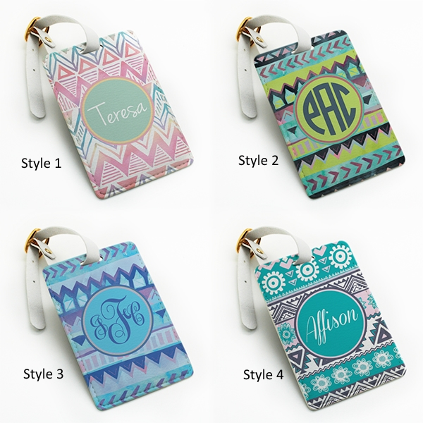 Personalized pu leather Luggage Tag, wedding favor tag, travel bag tag,  aztec tribal custom name monogram initial, with strap (L16) from  BeanBeanCase