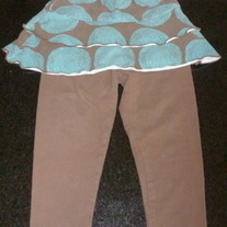 Blue/Brown Skirt with Brown Leggings-Marrimekko by Sweet Potatoes (Boutique) Size 2T