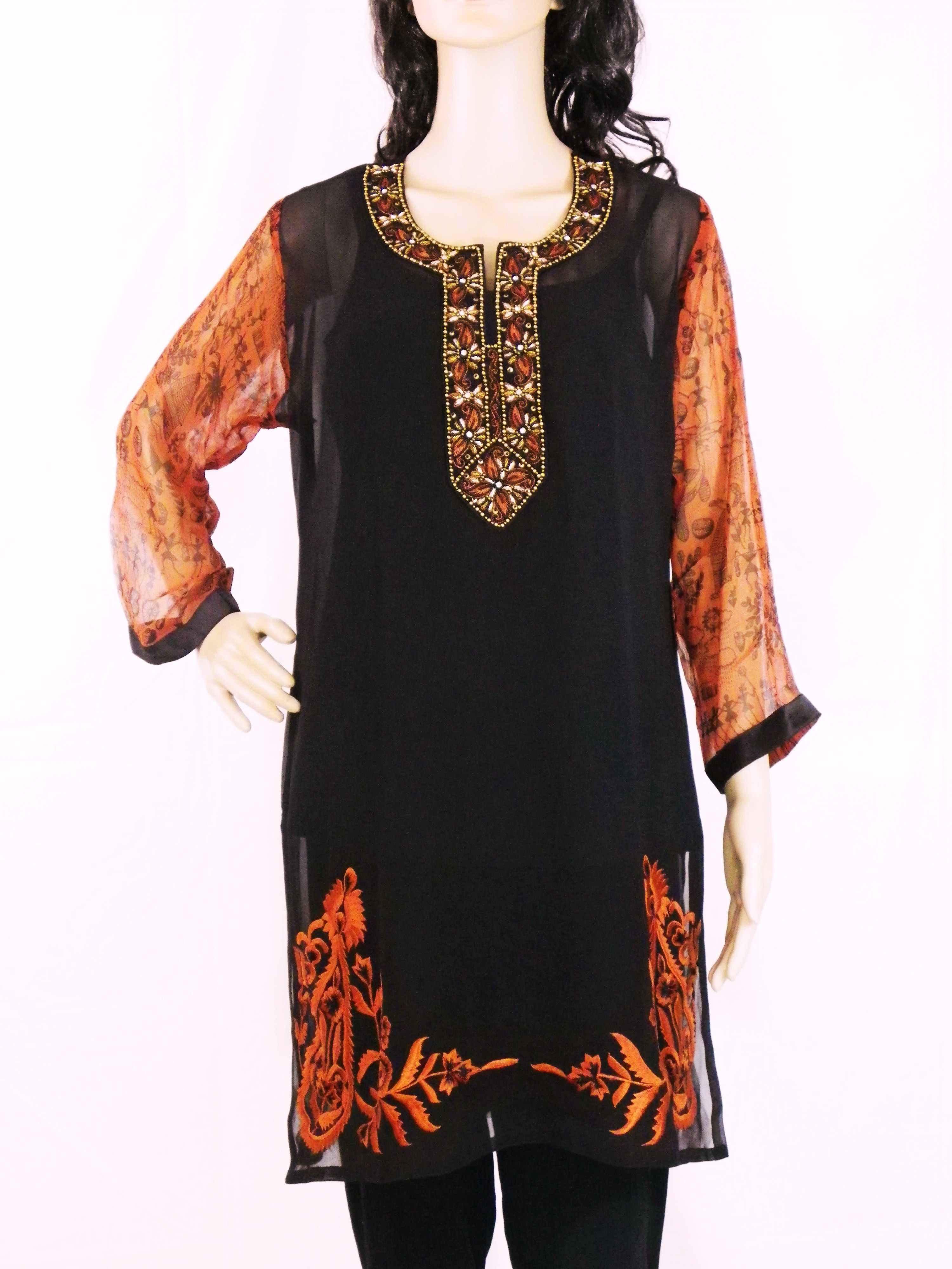 Black Tunic Kurti With Beads Embroidery And Tribal Art