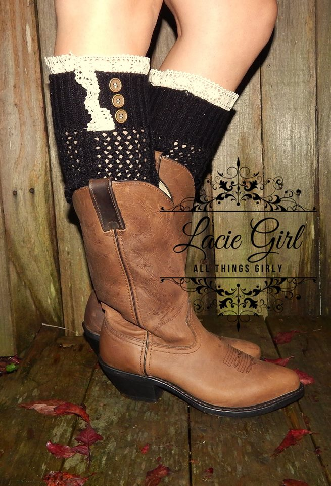 a469a2499 Lace Open Knit Leg warmers With Buttons over the knee rain boots ...