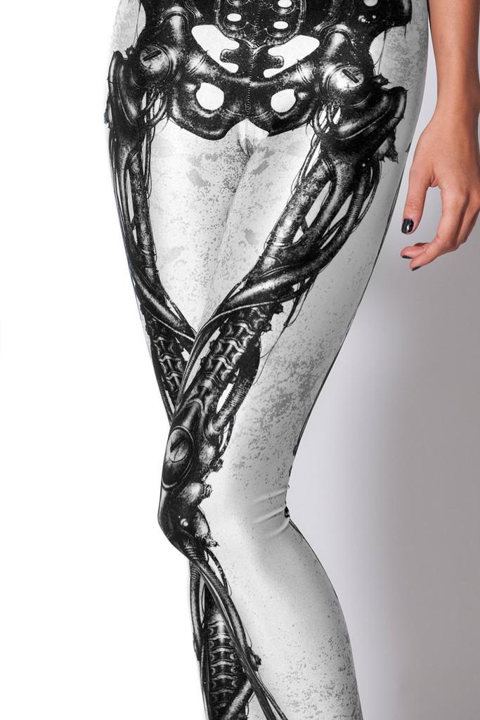 sexy white and black skeleton leggingsskeleton tightsskeleton pantshalloween leggings - Halloween Tights For Women