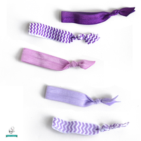 Purple Power Hair Ties - Set of 5