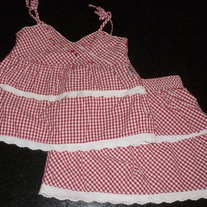 Red/White Gingham Skirt and Top with Stars-Osh Kosh Size 5
