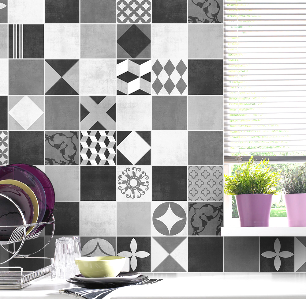 Geometric Graphite Tile Stickers - Kitchen Backsplash Tiles ...