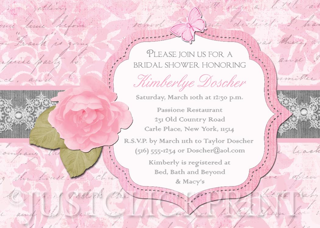 Shabby Chic Vintage Pink Rose Bridal Shower Invitation Printable ...