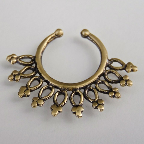 oxidized brass septum for non pierced nose nose jewelry