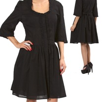 M black long puff sleeve rockabilly dress gothic victorian tie back snap up