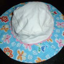 Blue Floral Hat with Chin Strap-Size 12 Months