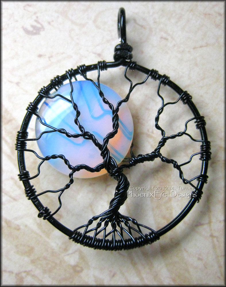 Opalite Rainbow Moonstone Full Moon Tree of Life Pendant Black Wire ...