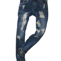 Low Waist Jeans in Ripped Detail and Rolled Cuff