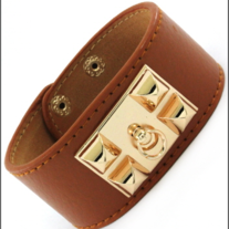 Leather Door Knocker Bracelet Brown