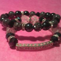 Black & Bling Stack Bracelets