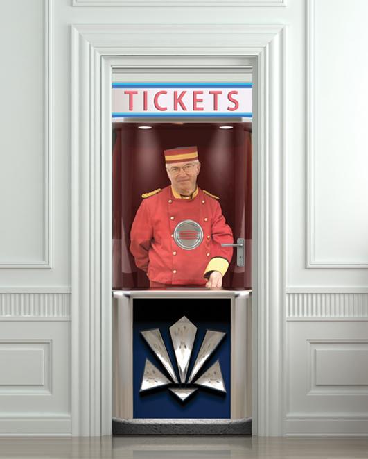 Door sticker cinema ticket booth mural decole film self - Stickers cinema mural ...