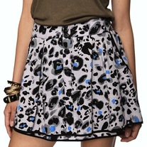 XS gray black piping blue leopard print flare button cotton mini skirt