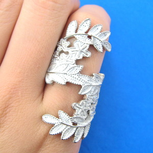 Large Statement Floral Vines Wrap Around Ring in White - Sizes 8.5 and 9 ONLY